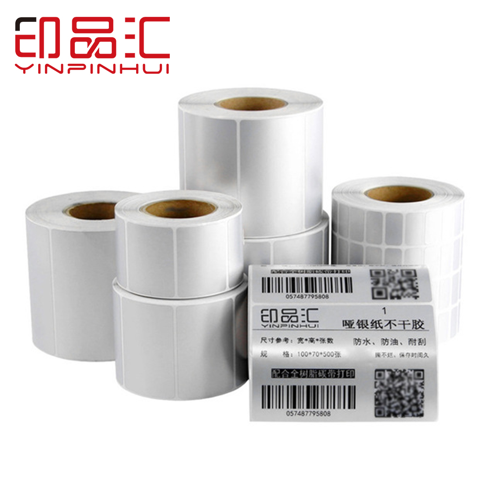 5000pcs/roll Dumb Silver Print Paper Adhesive Carton Label Paper 30*10mm 40*10mm 50*10mm 70*40mm 100*60mm
