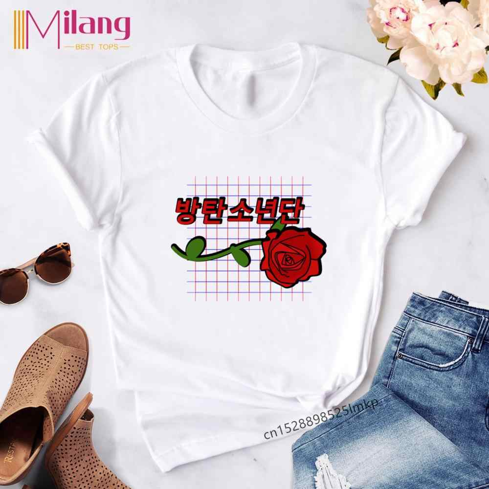 2020 Ropa mujer เกาหลี J-Hope Aesthetic T เสื้อพิมพ์ฤดูร้อนผู้หญิงโกธิค TShirt Harajuku เสื้อผ้ากราฟิกหญิงสั้นแขน
