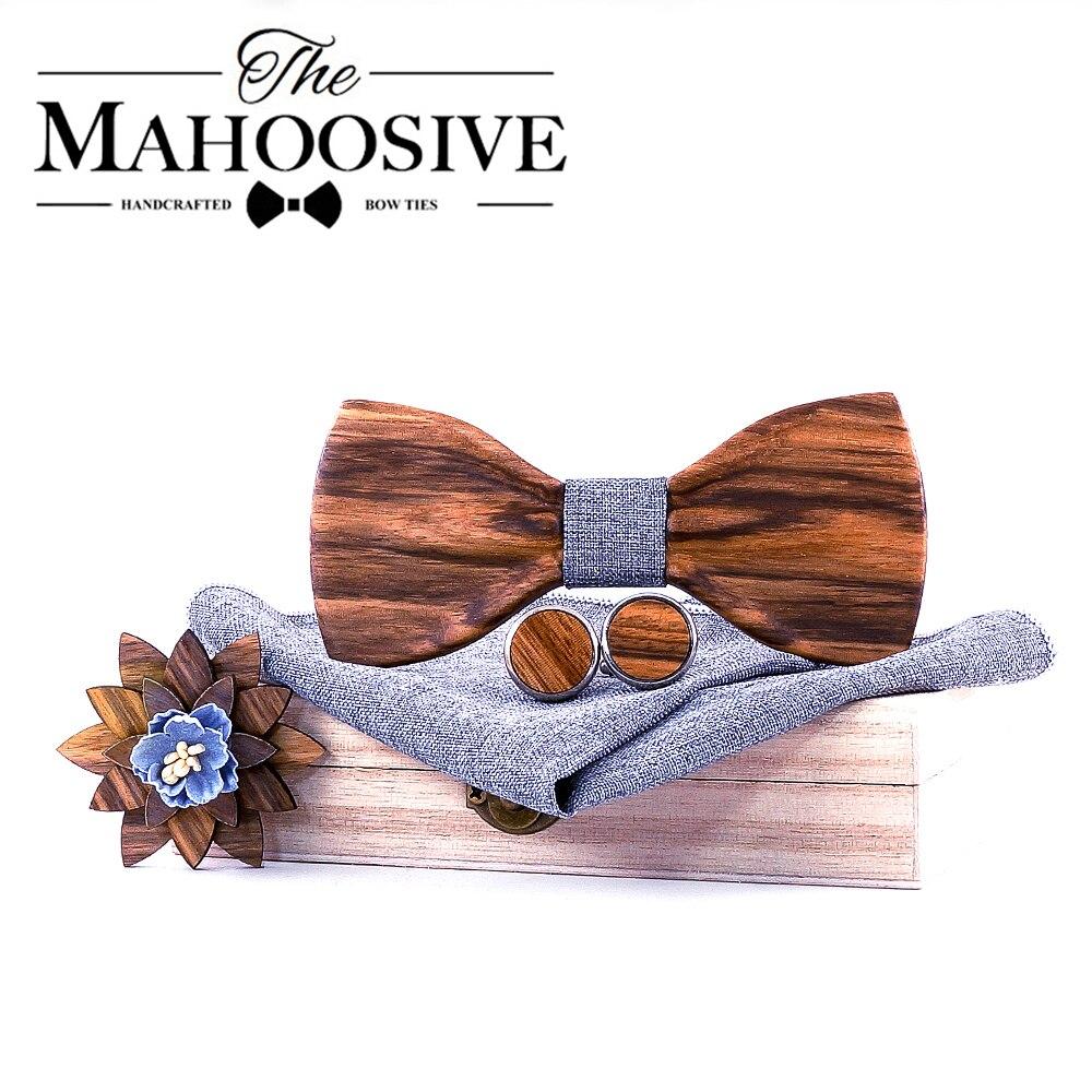 Wooden Bow Tie Men Bowtie Newest Butterfly Knot Mens Accessories Wood Cravat Formal Commercial Suit Wedding  Set