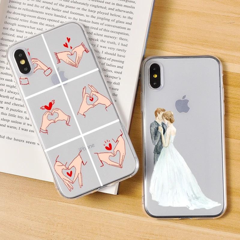 Mignon romantique mariage doux Silicone coque de téléphone pour iPhone 11 7 8 6 6S Plus 5 5S Pro Max XR XS Couple amoureux mains couverture coque ...
