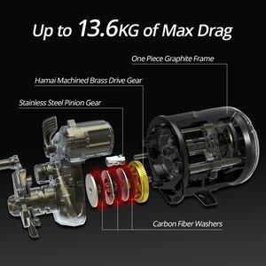 Image 4 - KastKing ReKon 13.6kg Max Drag Line Counter Trolling Reel okrągły kołowrotek 5.3:1 przełożenie 3 + 1 łożyska kulkowe bęben bębnowy