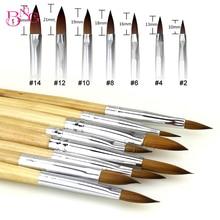 1PC 2/4/6/8/10  Acrylic Nail Art Brush UV Wood handle Gel Carving Pen Liquid Powder DIY Drawing Tool Flower Painting