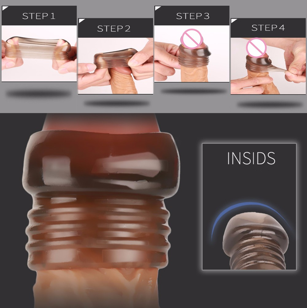 Sex Dildo No Vibrator Adult Sex Toys Vagina Pussy Sex Shop Delay Premature Lock Fine Latex Lubricated For Men Crystal Set H5