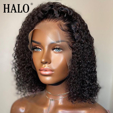 Perruque Lace Frontal wig brésilienne bouclée, cheveux naturels, coupe au carré, 4x4, 13x4, 180 de densité, pour femmes africaines