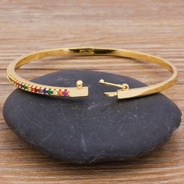 New Design High Quality Charm Rainbow Bangles Copper Zirconia Rhinestone Cuff Bangle Trendy Jewelry Gift For Women Girls 4