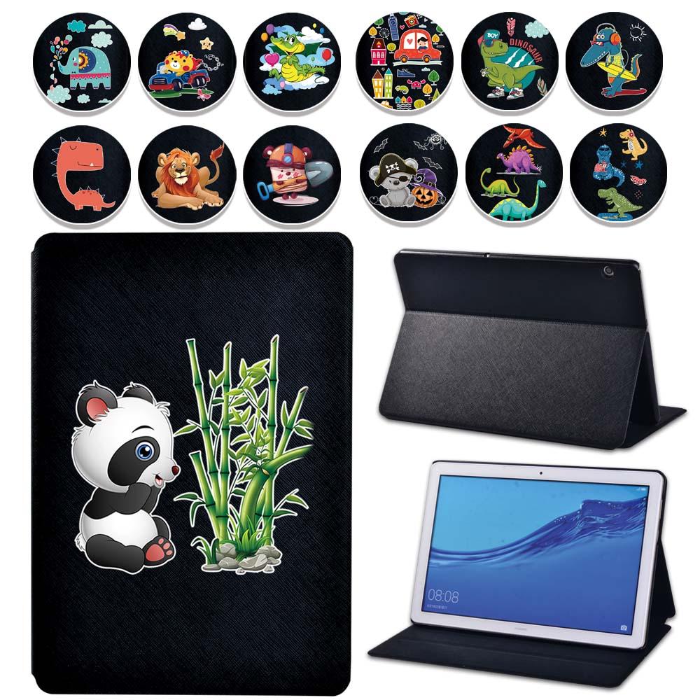 Odwróć PU skórzany stojak Tablet pokrywy skrzynka dla Huawei MediaPad T5 10 10.1 cal/MediaPad T3 8/MediaPad T3 10 9.6 Cartoon Case + długopis