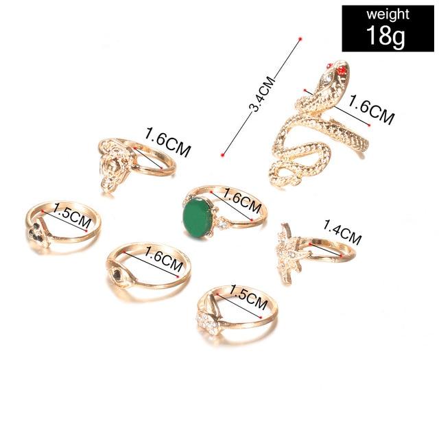 KMVEXO 10Pcs/Set Vintage Boho Snake Crystal Finger Rings Set Punk Bohemian Buddha Statue Stone Ring for Women Party Jewelry Gift