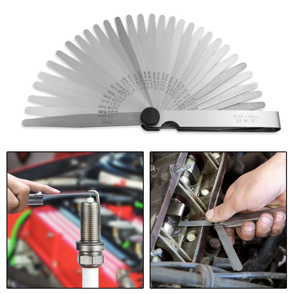 Heat-treated Spring Steel Feeler Gauge 32 Blades Metric 0.03-1mm 0.001-0.040inch Thickness Gap Measurement 100B32 89A32