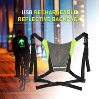 Lixada USB Rechargeable Reflective Vest Backpack with LED Turn Signal Light Remote Control Outdoor Sport Safety Bag Gear Cycling