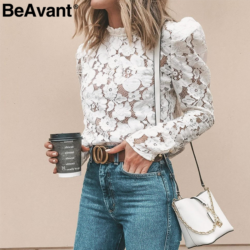 BeAvant Vintage Women Lace Blouse Shirt Sexy Hollow Out Embroidery White Blouse Tops Chic Puff Sleeve Office Ladies Mesh Blouses