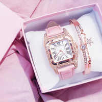 Square Luxury Diamond Women Watches 2019 Leather Ladies Watch Waterproof Female Quartz Wristwatch Relogio Feminino Reloj Mujer