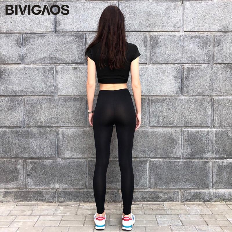BIVIGAOS New Summer Ice Silk Cool Black Leggings Sexy Leggings Thin Stretch Slim Workout Leggings Ankle Pants Legins Women 3