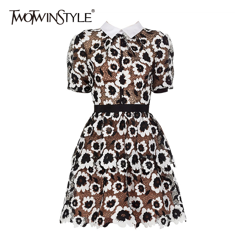 TWOTWINSTYLE Vintage Print Women Dress Lapel Collar Puff Short Sleeve High Waist Hollow Out Lace Up Dresses Female Fashion Tide