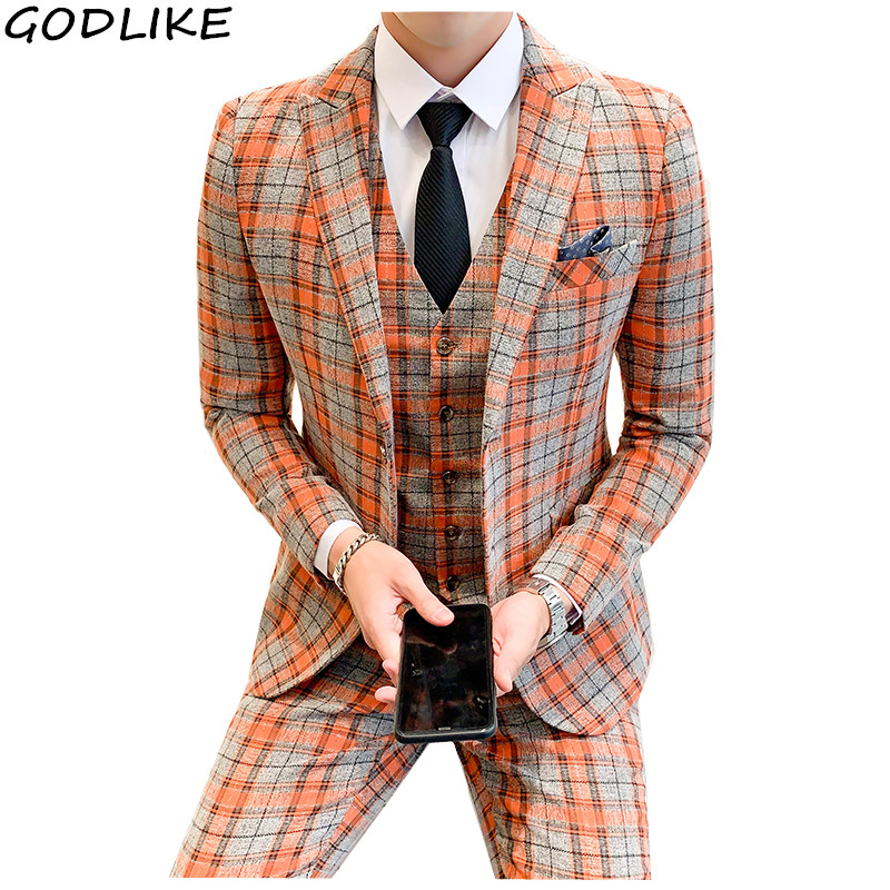 Mens Plaid Suits Classic Wedding Suit For Men 2019 High Quality Men's Slim Fit Suits Formal 5XL Prom Party Costume Homme