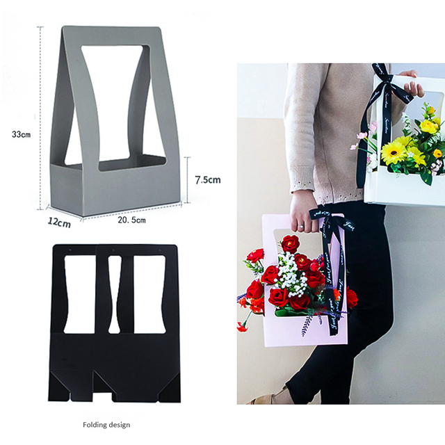 Details about  /Portable Waterproof Flower Packing Box Paper Foldable Flower Box 、