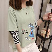Camiseta de manga larga para mujer, chaqueta holgada falsa de dos piezas con base verde de aguacate, versión coreana, primavera y otoño, 2021