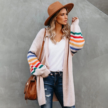 Fitshinling Rainbow Striped Boho Cardigan Winter Long Coat Female Knitwear Pink Slim Sweaters Cardigans For Women Clothes 2020