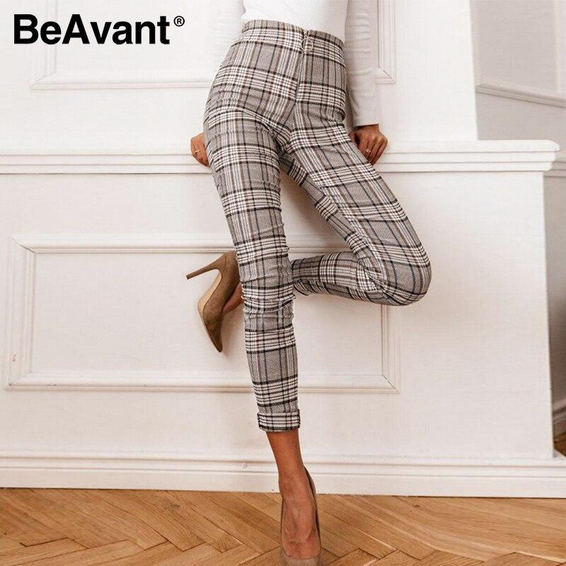 BeAvant Classic Plaid Casual Pencil Pants Women High Waist Fashion Zipper Slim Pants Ladies OL Streetwear Rousers Pants Female