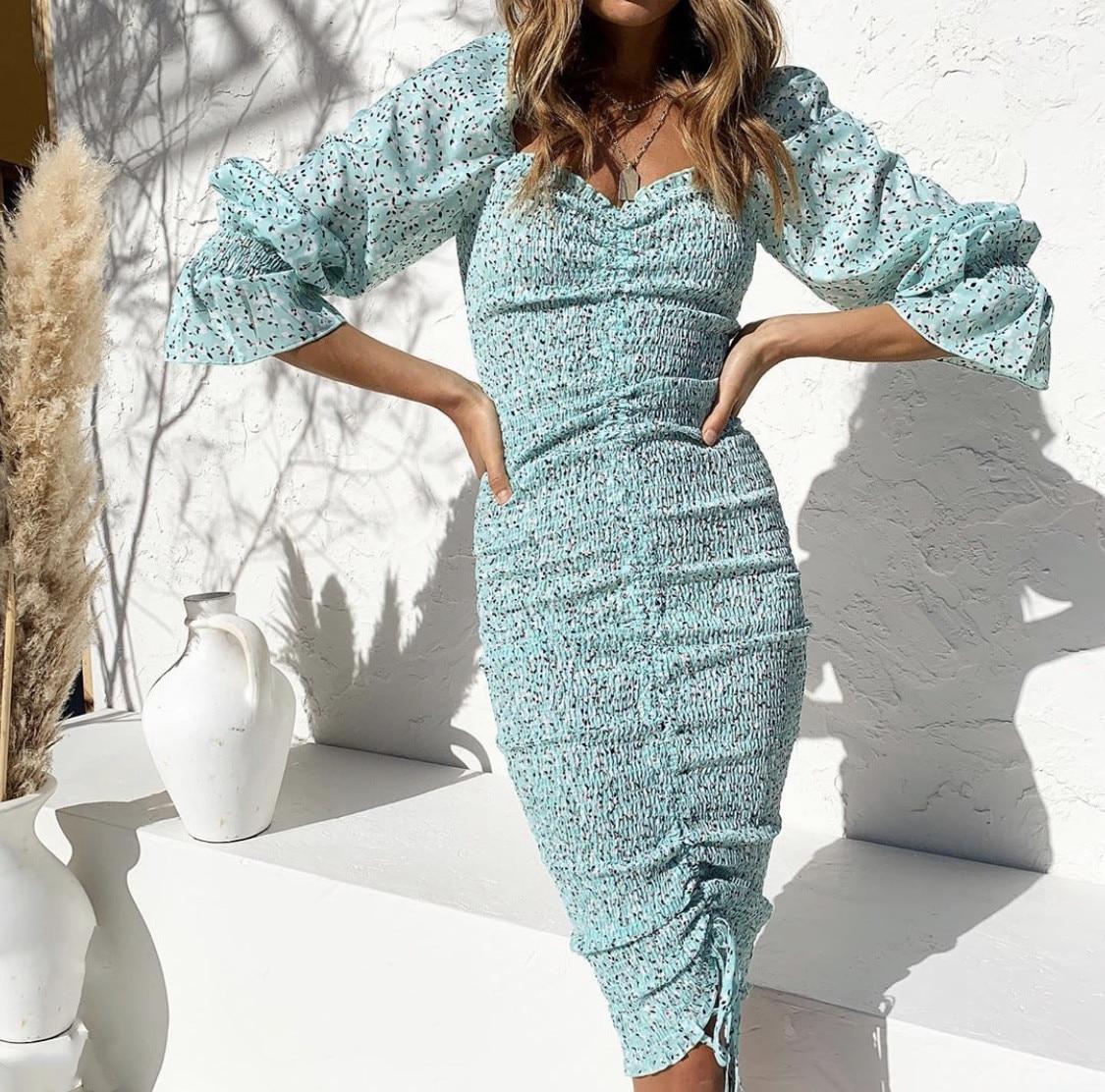 2020 Trendy Square Neck Floral Print Dress Women Long Sleeve Bodycon Mini Dress Boho Beach Dress for Girls Party Clothing 10