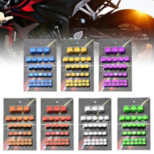 30pcs Motorcycle Scooter Color Screw Nut Bolt Cap Cover Decoration Parts 7Colors For Yamaha Kawasaki Honda