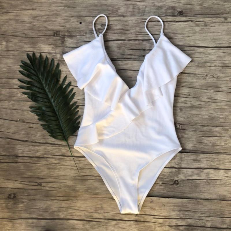 TITAME, спортивный купальник, сдельный, с глубоким вырезом, с оборками, купальник для женщин, без проволоки, пляжная одежда, летние купальники м... 18