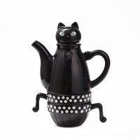 Keramik Teekanne Teetasse Set Nette Schwarz Weiß Katzen Edelstahl Filter Tee Kaffee Zubehör Schöne Geschenk Drink Dropshipping