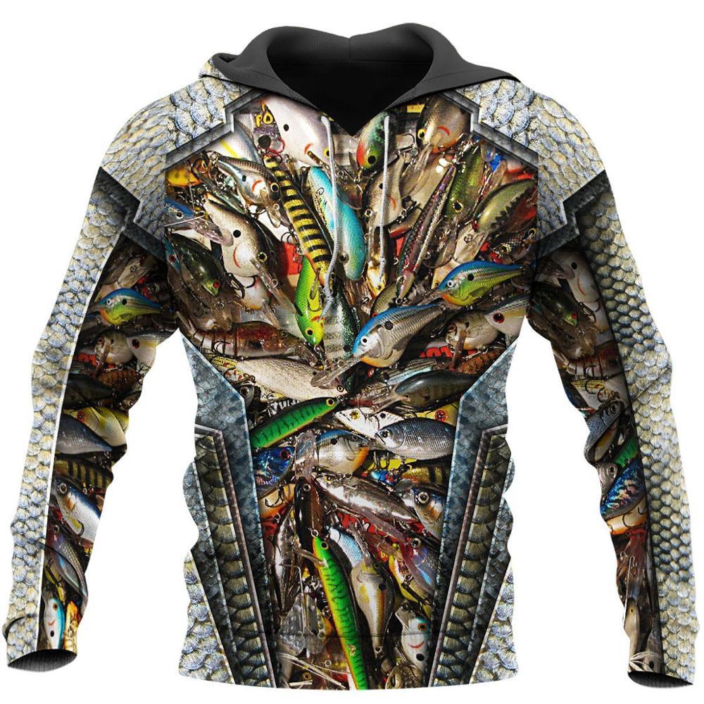 Fishing Baits 3D All Over Printed Men Hoodies/sweatshirts Retro Harajuku Fashion Hooded Autumn Hoody Casual Streetwear YS-257