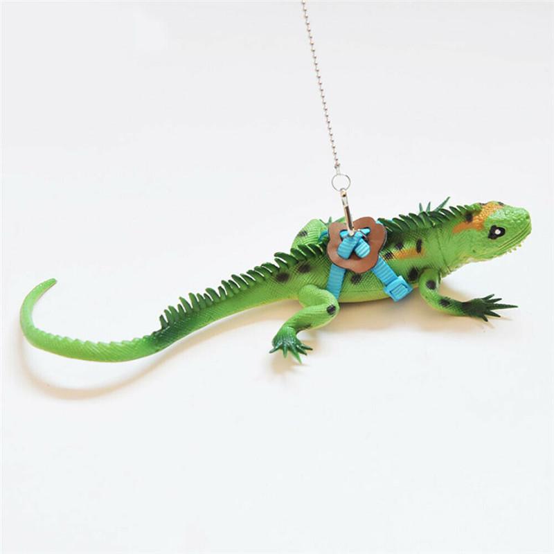 HomeDecTime Adjustable Reptile Training Harness Leash Rope for Lizard Crested Gecko Chameleon Guinea Pig Ferrets Hamster Rats Black+Golden S