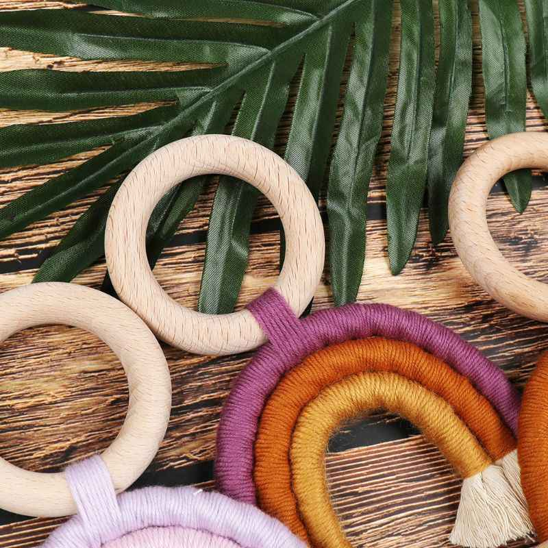 Animal Wood Teether Baby Toy Modern Macrame Macram\u00e9 Wooden Teether Baby Teething Ring Macrame Baby Teether Baby Shower Gifts