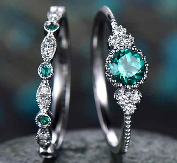 Fashion Jewelry Feather Wedding Ring Zircon Lady Ring Emerald Ring Two-Piece Set women rings Crystal stone Party Gift for girl