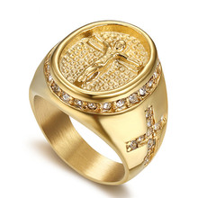 Hip Hop Jewelry Iced Out Jesus Cross Ring Gold Color Stainless Steel Rings For Men Religious Jewelry Dropshipping Bague homme S