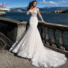 Wedding-Dress Waulizane Gorgeous Tulle Mermaid Full-Sleeve of Skin Transparent Sexy