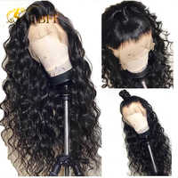 Pelucas de cabello humano con encaje frontal de 13x4 pelucas de ondas profundas sueltas de mongol prearrancadas para mujeres negras cabello Remy de 8-24 pelucas con minimechones