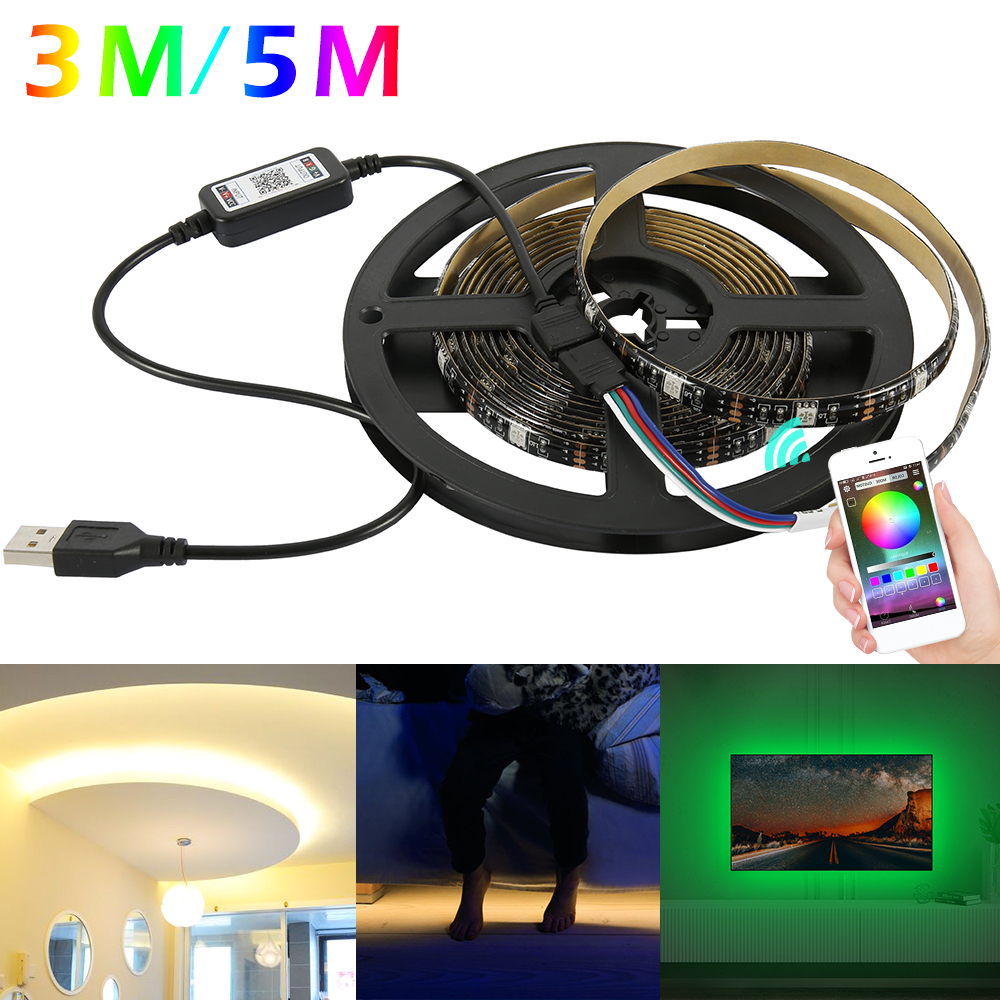 USB LED Strip Light RGB Waterproof Bluetooth Wifi Lamp Tape TV Backlight Controller Neon Ribbon Lamp 3m/5m Christmas Party Decor