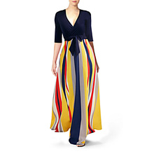 Dresses Woman Party Night Striped Casual Fit and Flare Half Sleeve Ankle-Length Dress with Sashes V-Neck Sexy Lady Maxi Dress недорого
