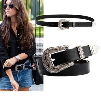 New Design Vintage Women PU Leather Belts Carved Buckle Luxury Waist Strap Punk Trouser Jeans Dress Female Decoration Belt цена 2017