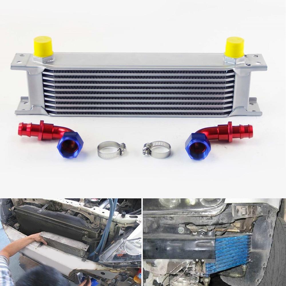 Universal 248mm 7 Row AN10 Aluminum Engine Transmission Oil Cooler Silver Kits Car accessories car Oil Cooler Hose Connectors