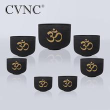 CVNC Chakra OM design set of 7 PCS 6-12 Note CEEFGAB Frosted Quartz Crystal Singing Bowl