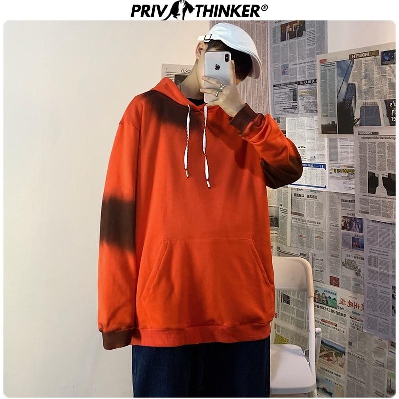 Privathinker Men 2020 Gradient Spring Solid Hoodie Mens Fashion Pullover Unisex O-Neck Sweatshirt Male Hooded Clothes Sweatshirt