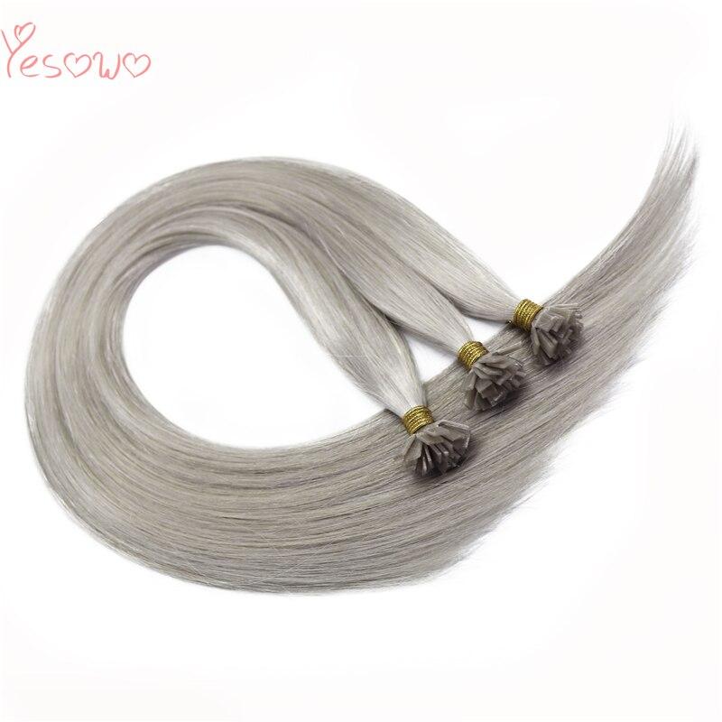 Yesowo Flat Tips Human Hair 1g/strand Straight Brazilian Remy Keratin Pre Bonded Fusion Hair Grey Hair Extensions