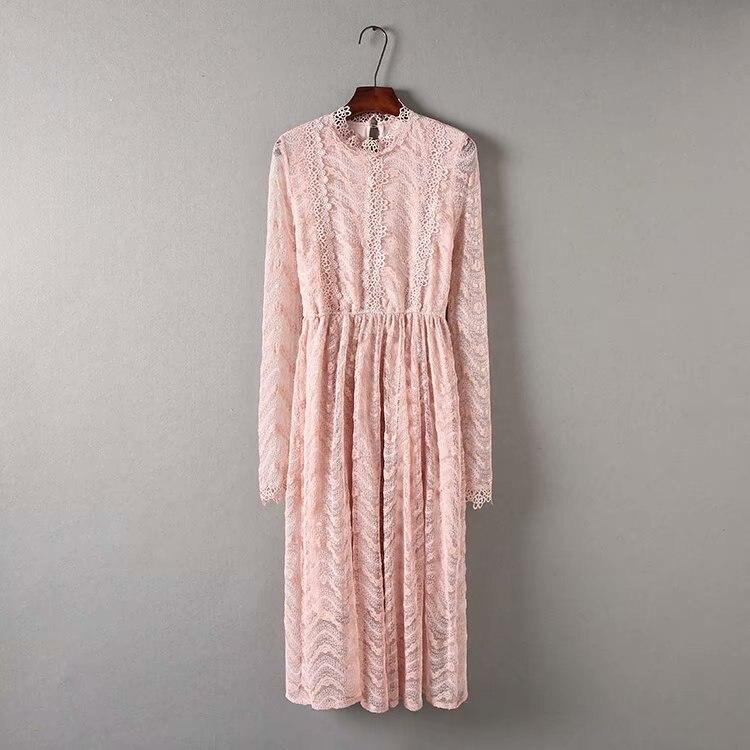 D333-2389 Literature And Art Retro Xian Qi Lace Dress Waist Hugging Slimming Medium-length Dress Women's