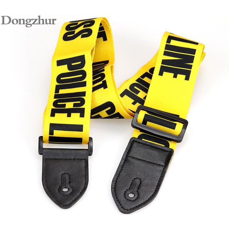 Yellow Adjustable Polyester Guitar Belt Guitar Strap with PU Leather Ends for Electric Bass Guitar Parts Accessories