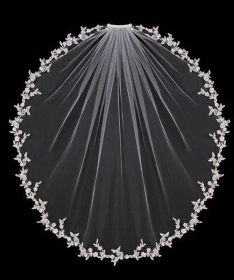 Wedding Veils Bridal Accessories White Ivory Elbow Length With Comb Appliques Lace Bridal Veils 2020 New