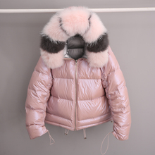 Real Fur Coat Natural Fox Fur Collar 2019 Women Down Jacket  Loose Short Jacket White Duck Down Jacket Thick Warm Down Parka цена