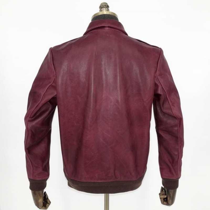 アメリカのレトロなヴィンテージスリムフィットの本革ボンバージャケット男性ブランド高品質リアルレザーコートメンズアビエイターオーバー