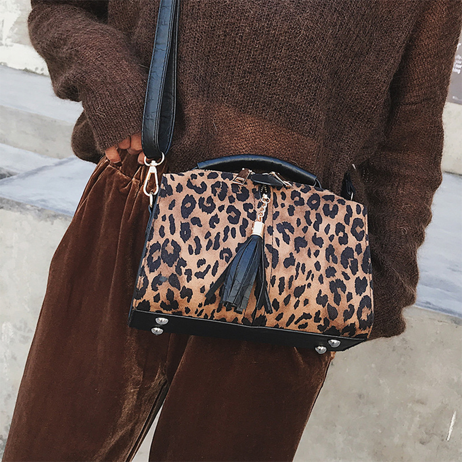 Luxury Leopard Print Women Handbags Fashion Small Flap Bags Chic Tassel Zipper Woman Shoulder Messenger Bag Ladies Purse