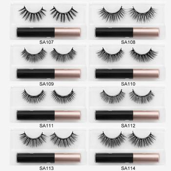 ISEEN 1pair False Eyelashes Set Magnetic Eyelashes Magnetic Liquid Eyeliner Set Waterproof Long-Lasting False Eyelash Extension 1