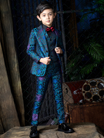 YuanLu Boys Suits For Wedding Party Kids Suits Baby Tuxedo Blazer Dress Child Clothes Formal Suits Flower Print Blue