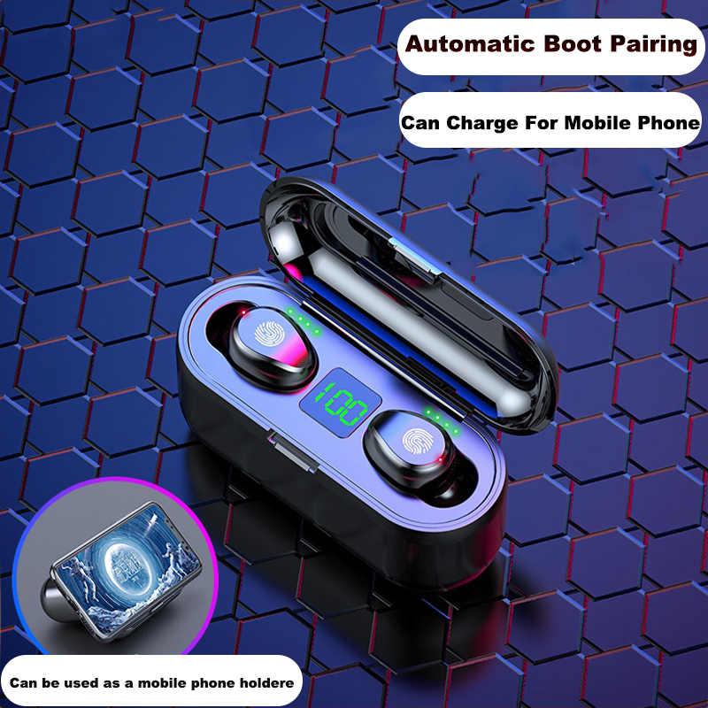 F9 Bluetooth イヤホン 5.0 TWS ミニワイヤレスイヤフォン電源表示イヤホン Led 充電ボックススポーツパワー銀行