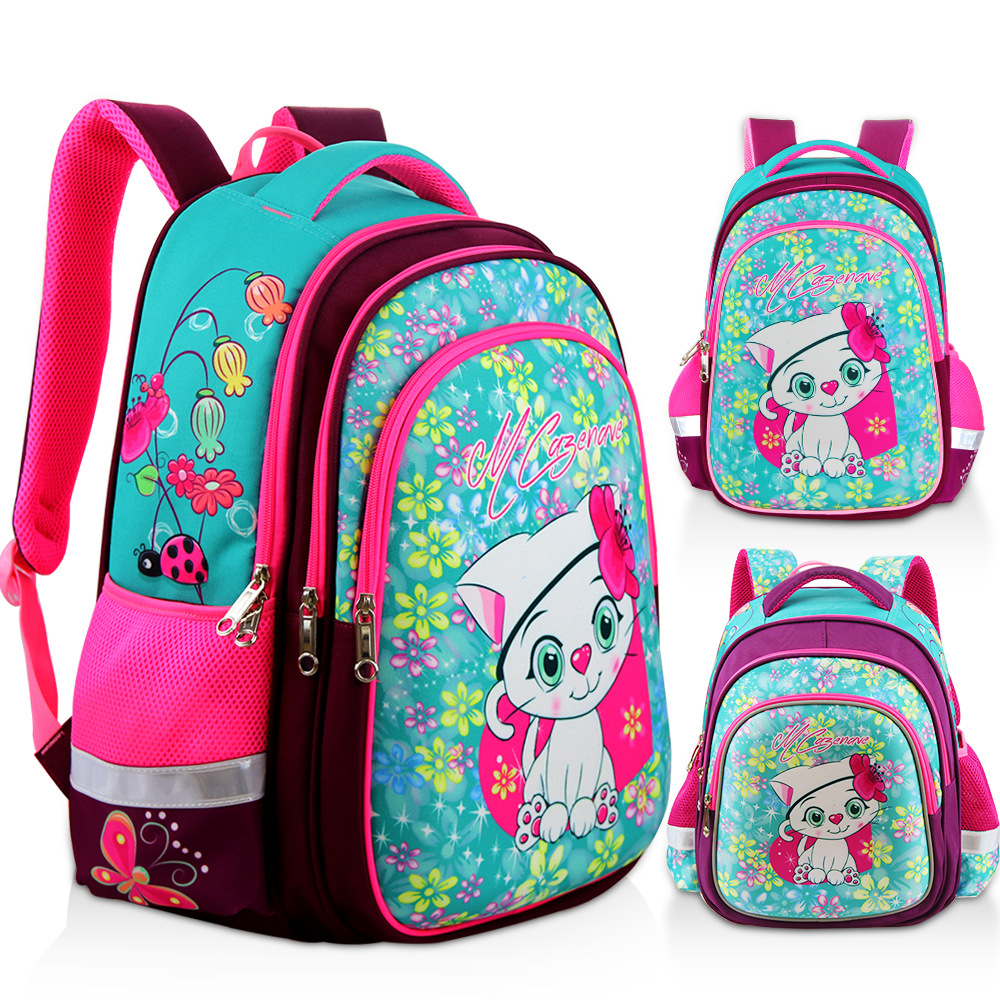 New Orthopedic Girl Backpack For School 3D Cartoon Cat Girls EVA School Bags Children Primary School Grade 1-5 Kids Bag